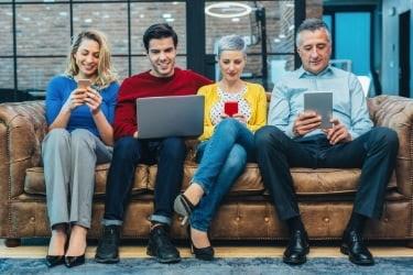 Group of people using social media