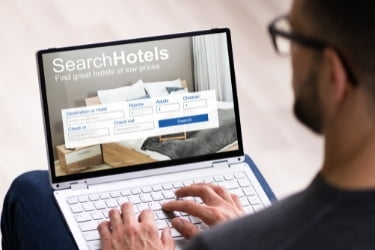 Man booking a hotel online