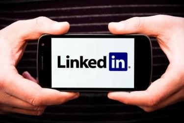 Linkedin logo in mobile phone