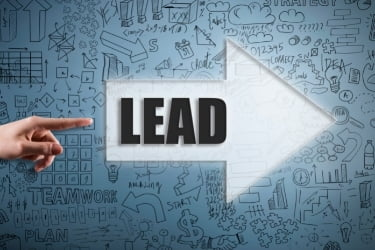 """Arrow pointing to the right with the word """"lead"""""""