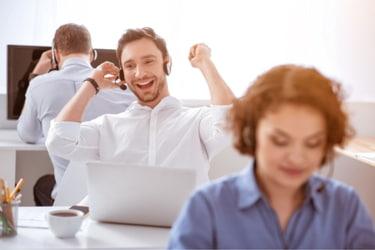 Salesperson being charismatic