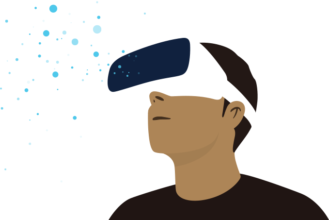 Illustration of man with VR Goggles