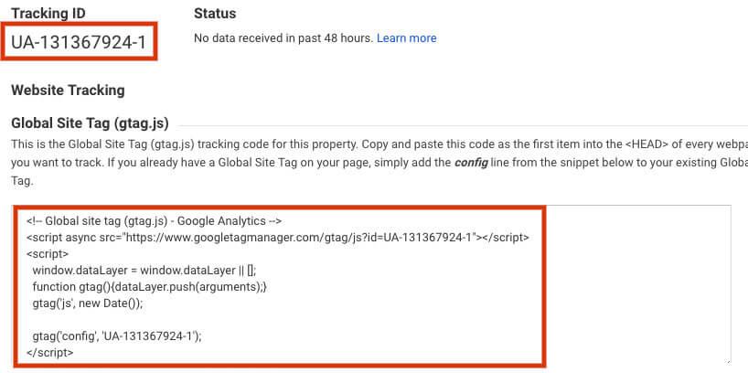 Google Analytics for Restaurants tracking id