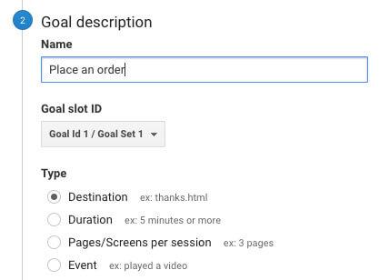 Google Analytics for Restaurants goal description