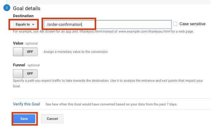 Google Analytics for Restaurants goal details