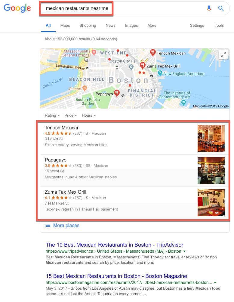 google my business for restaurants