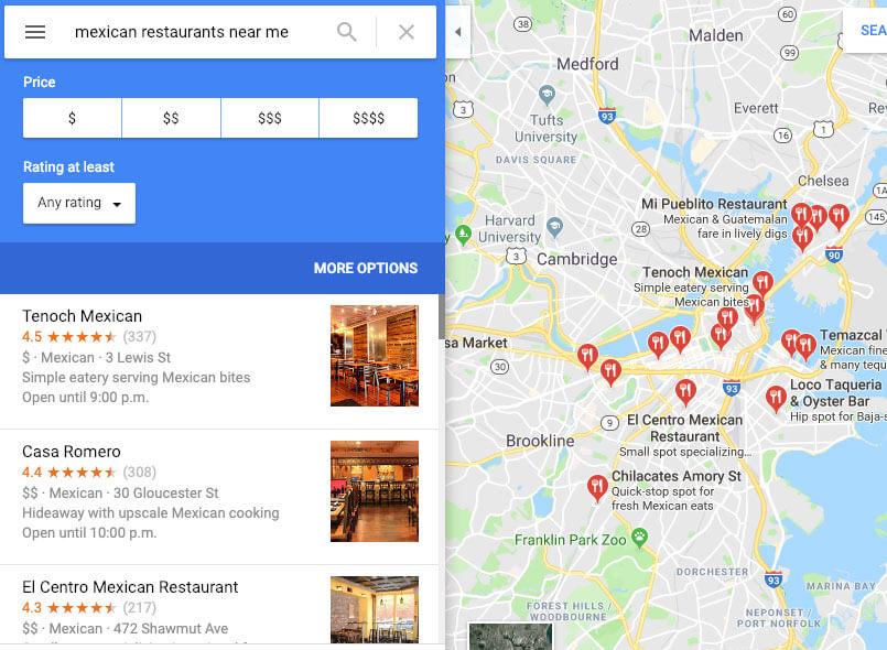 google my business for restaurants google maps