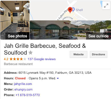 google my business for restaurants knowledge panel