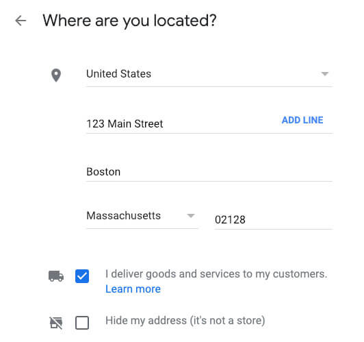 google my business for restaurants location address