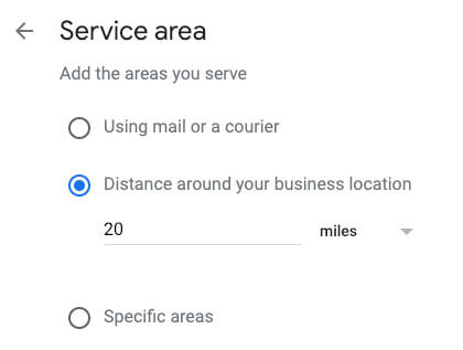 google my business for restaurants service area
