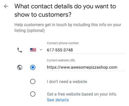 google my business for restaurants phone website url