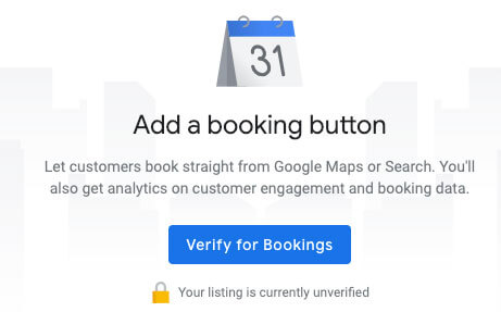 google my business for restaurants booking button
