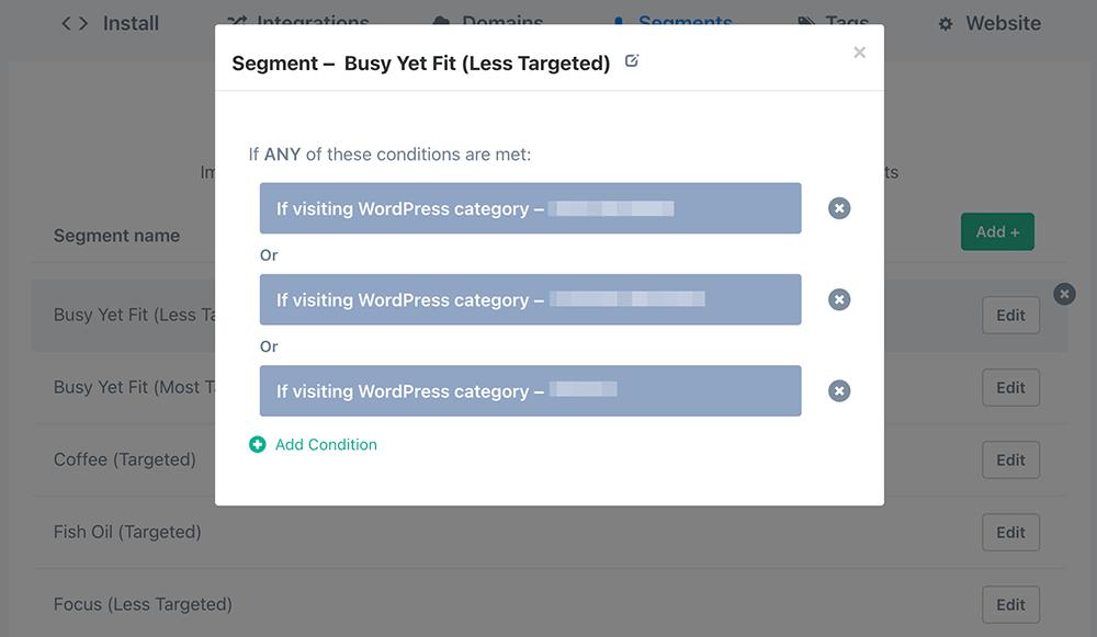 WordPress category segments