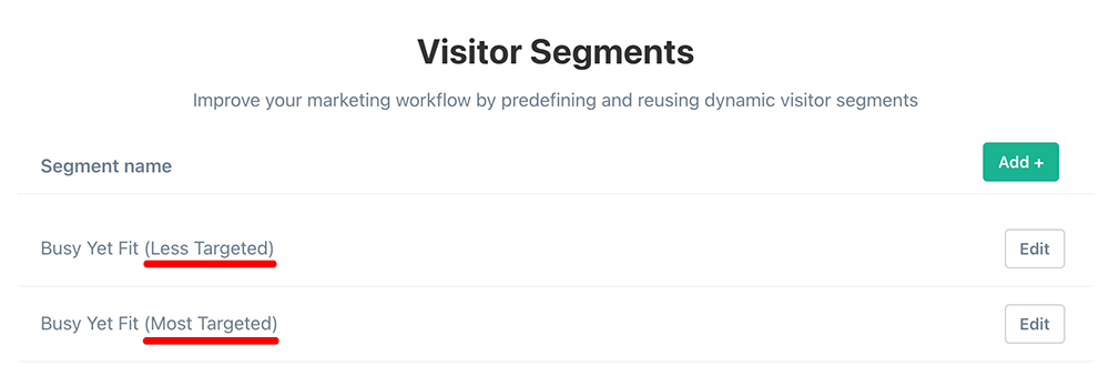 Targeted visitor segments