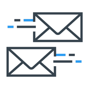 emails flying past each other icon