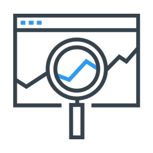 web page showing graph with magnifying glass icon