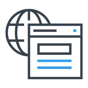 web page wire frame in front of planet icon