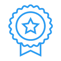 badge with star and ribbon icon