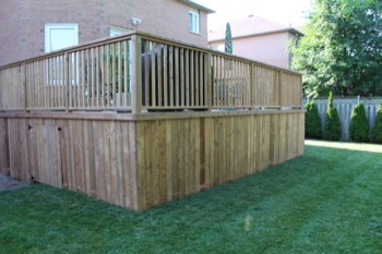 Raised wooden fence and enclosed