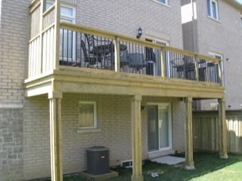 raised deck - very high with supports