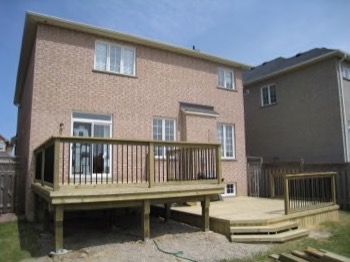 simple deck and a raised deck beside each other