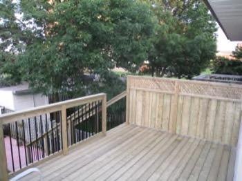 minimalist deck with railing