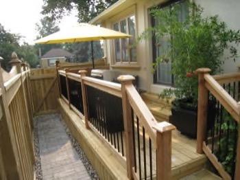 small backyard wooden deck