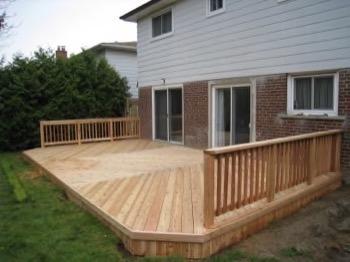 large open wooden deck