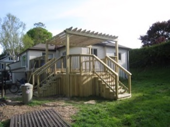 wooden deck with different entrances