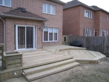 Wooden deck with two different shapes