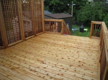 Wooden deck with wooden railings