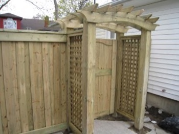 Gate and fence with ornamental covering