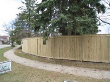 Curved wooden fence