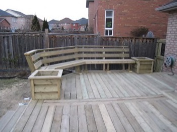 Wooden deck with wooden furniture