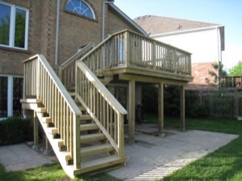 Elegant wooden deck with stairs