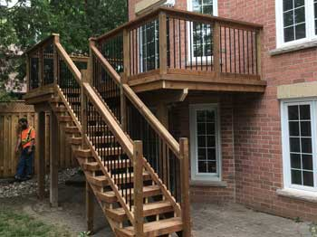 wood stairs, railing and deck