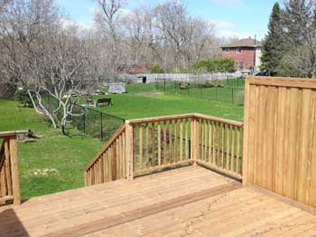 tall deck with railing