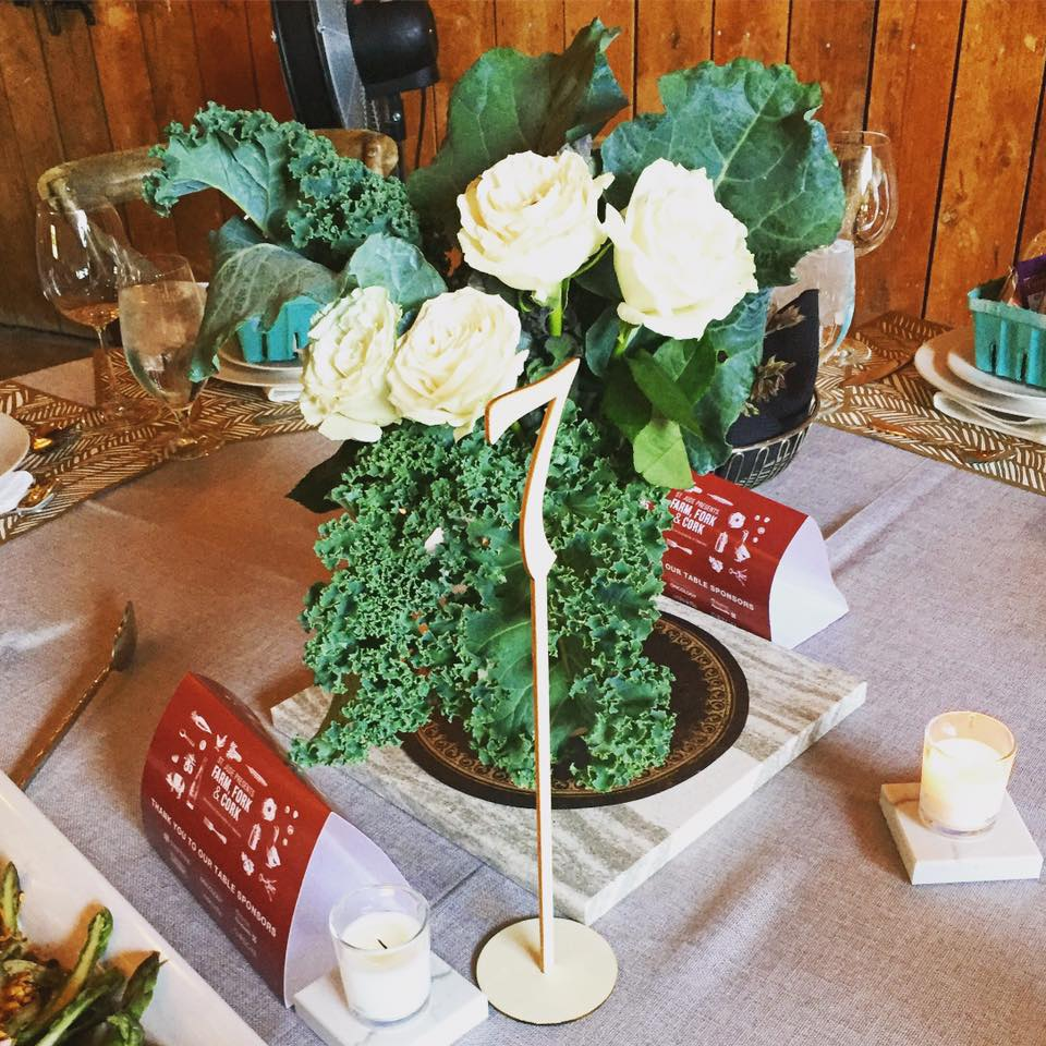 Farm Fork and Cork table centerpieces