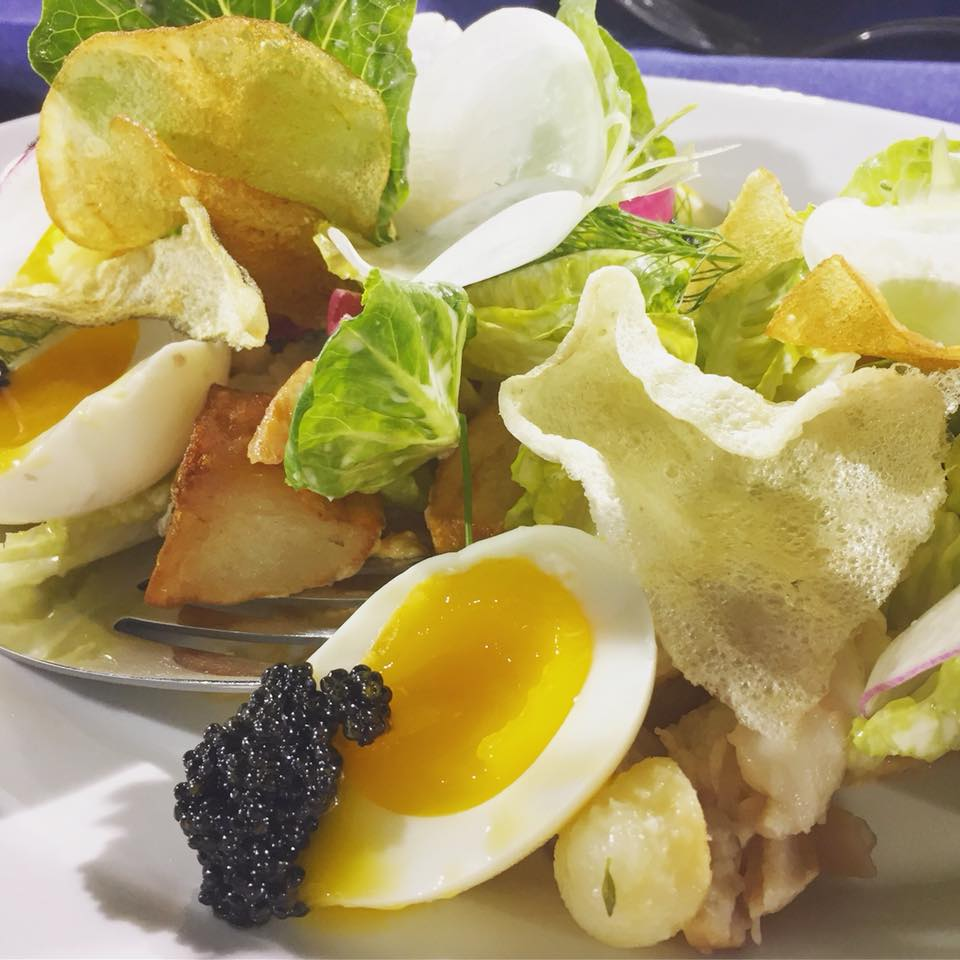 Passmore Ranch Smoked Sturgeon, Gem Lettuce, Potato, Radish, Egg, Brown Butter Vinaigrette from Kevin Nashan at Peacemaker and Sidney Street Cafe in St. Louis