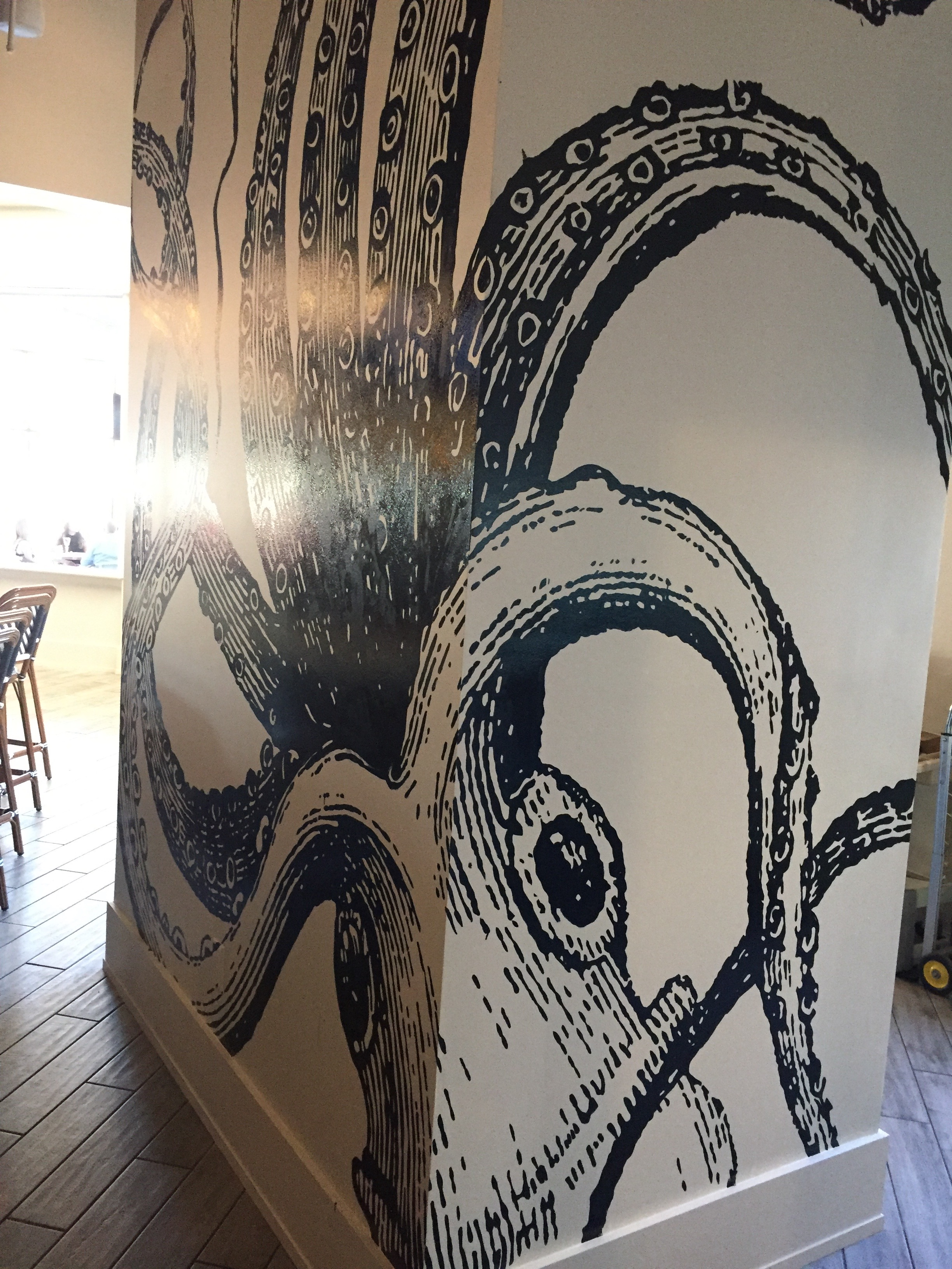 giant octopus wall mural at Saltine