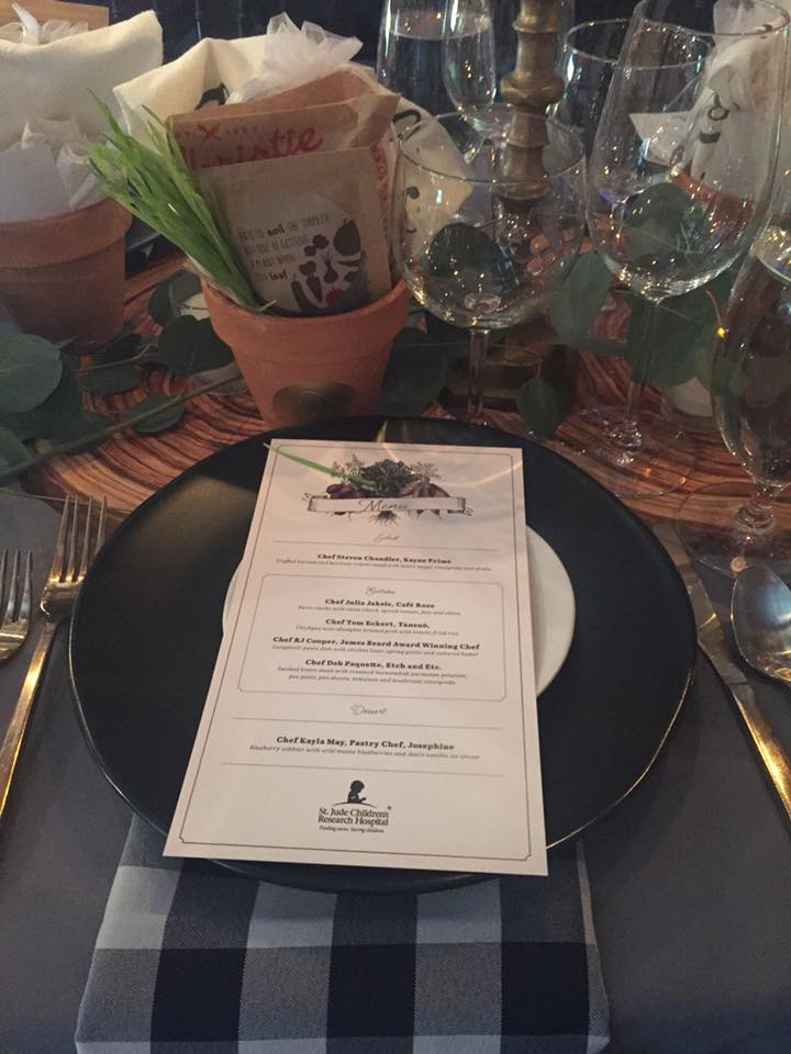 Farm Fork and Cork 2018 menu and place setting