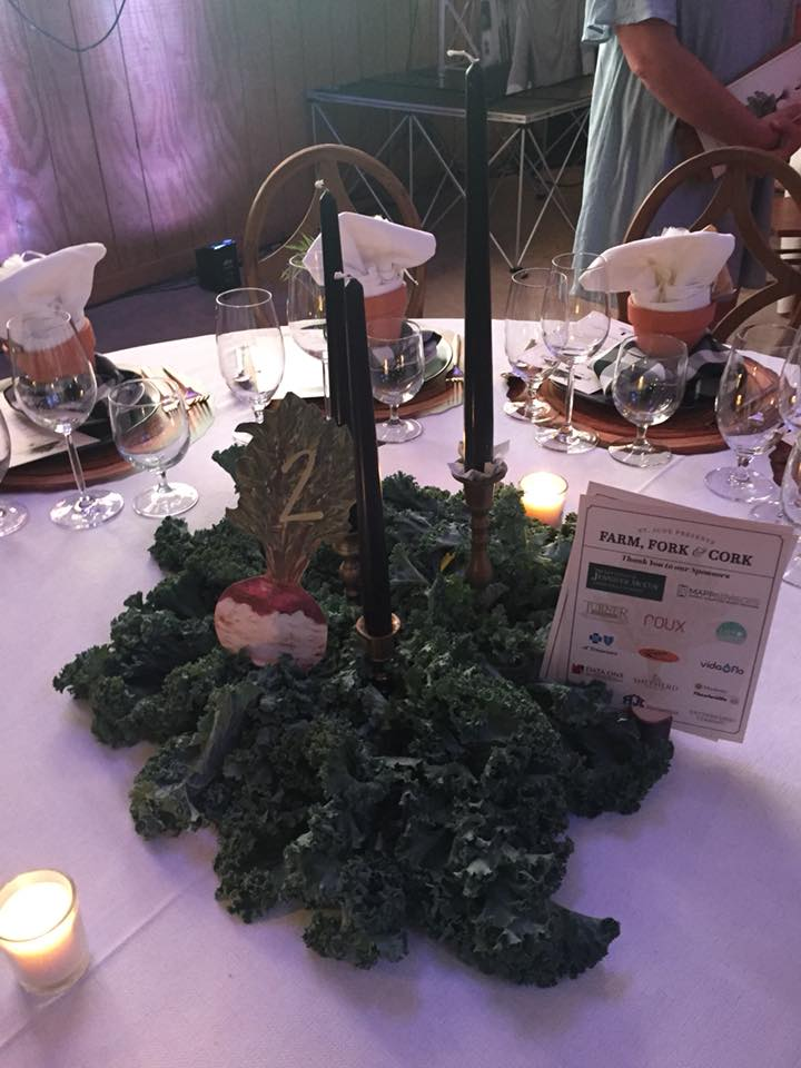 Farm Fork and Cork 2018 table centerpiece