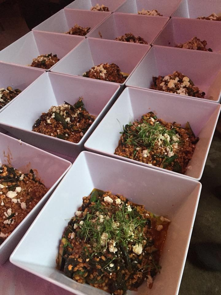 farro risotto with swiss chard, spiced tomato, feta, and olives