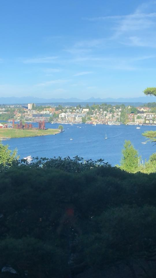 View of Lake Union of Gas Works Park from Canlis
