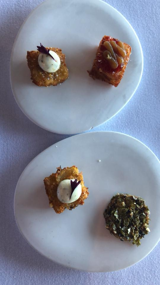 Appetizer bites at Canlis
