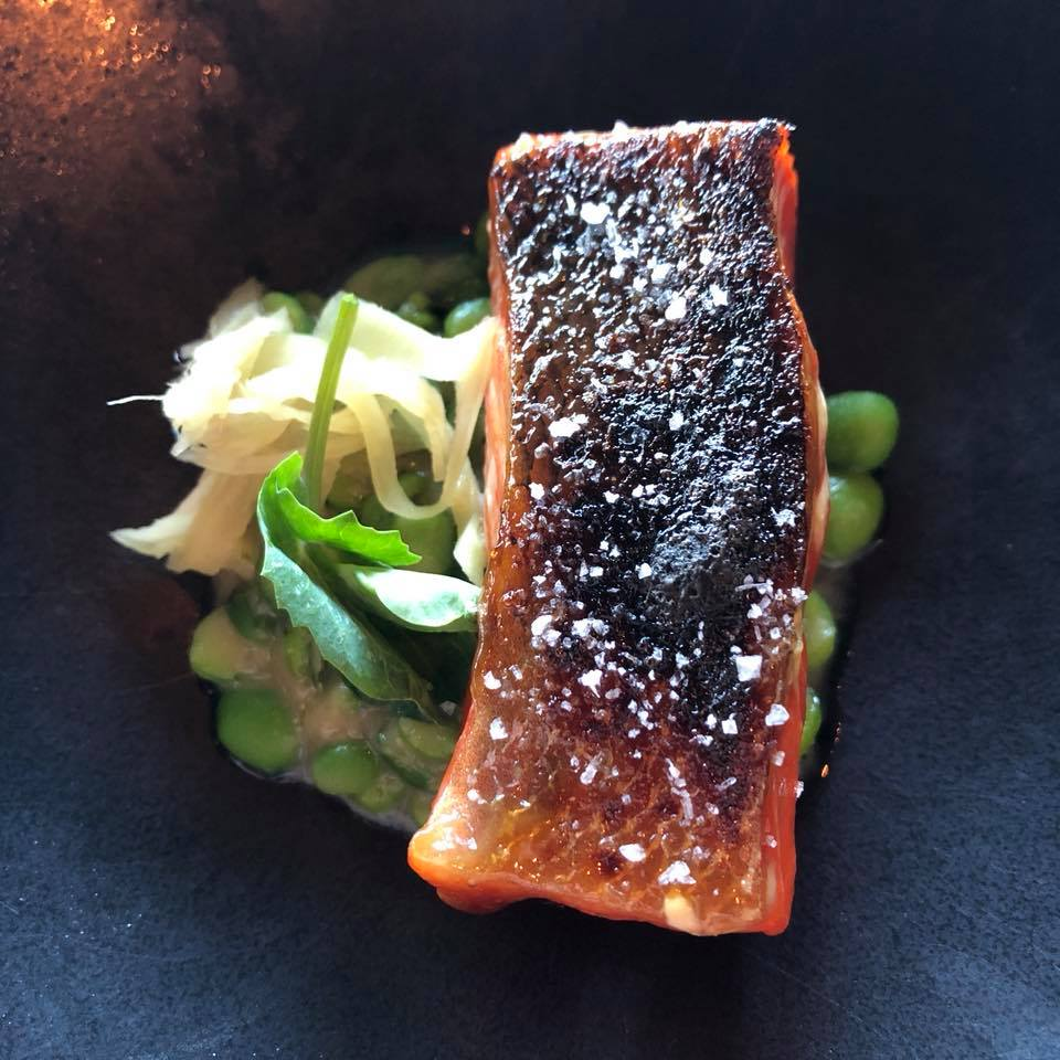 Salmon - Glazed in caramelized onion juice and grilled with peas and gari