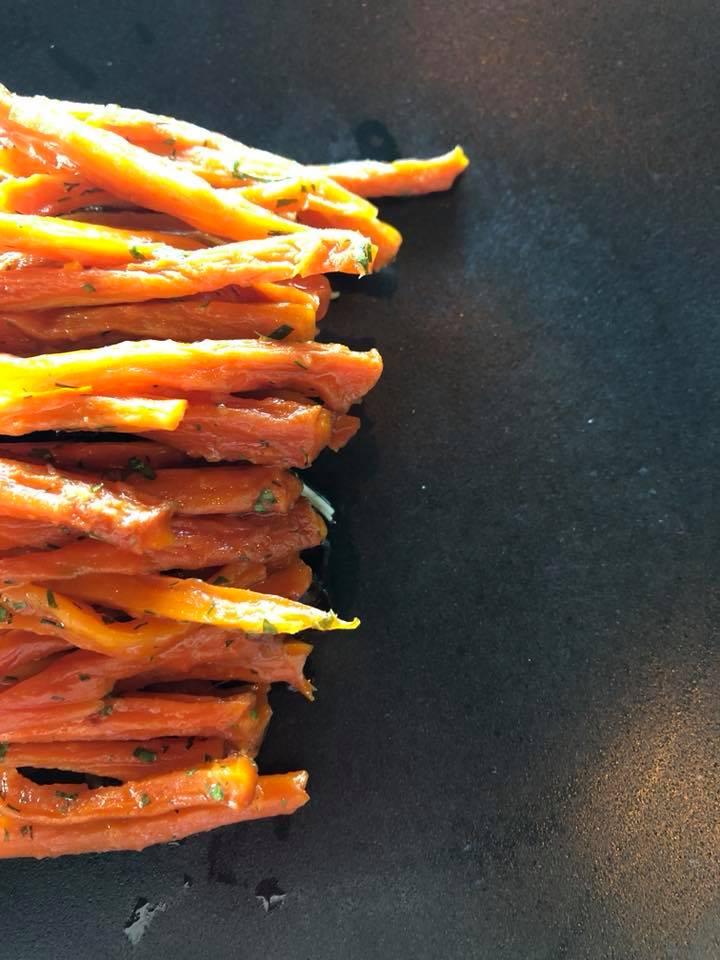 Smoked Carrots - Onion Jam / beans / celeriac