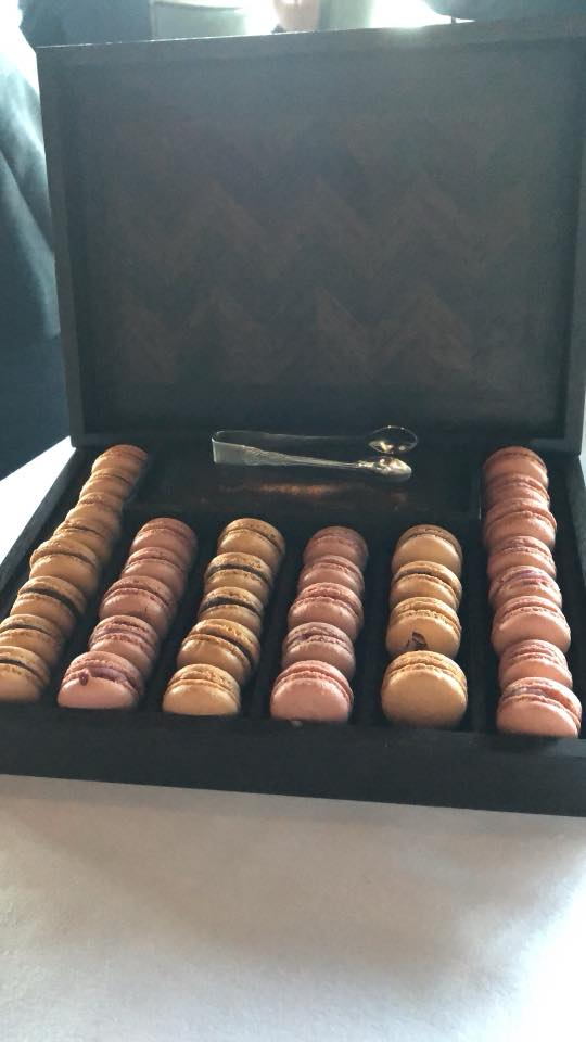 Case of Macaroons for dessert at Canlis