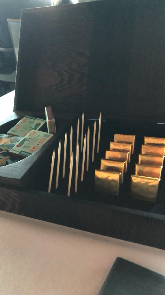 Canlis matches, chocolates and charred toothpicks