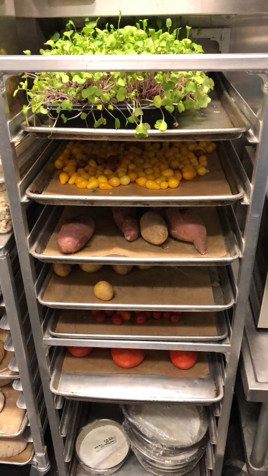 trays of herbs and veggies in the kitchen at Canlis